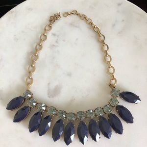J CREW NAVY AND LIGHT BLUE STATEMENT NECKLACE